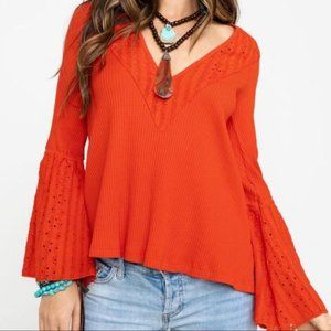 Free People Parisian Nights Bell Sleeve Eyelet Lace Top/Tunic Red Size Large